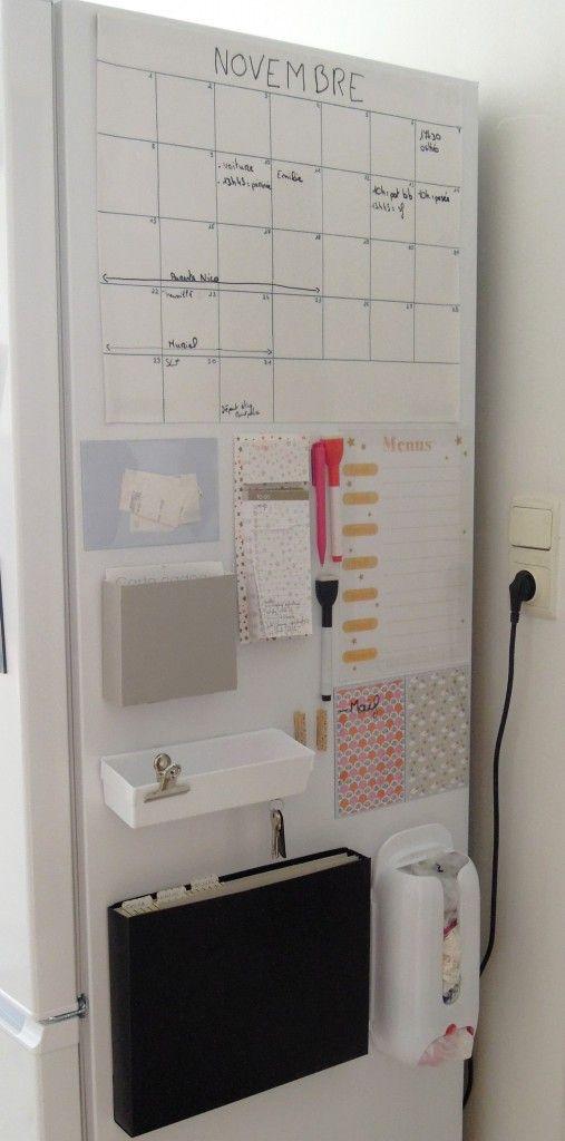planificateur calendrier familial à créer sur le côté du frigo