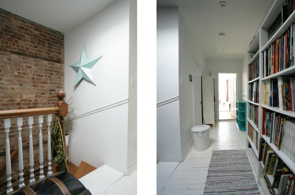 couloirs avec planchers peints en blanc