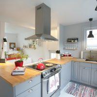 Grey IKEA bodbyn kitchen with wooden countertops / cuisine grise IKEA bodbyn avec plan de travail en bois et ouverte sur le salon. Style scandinave