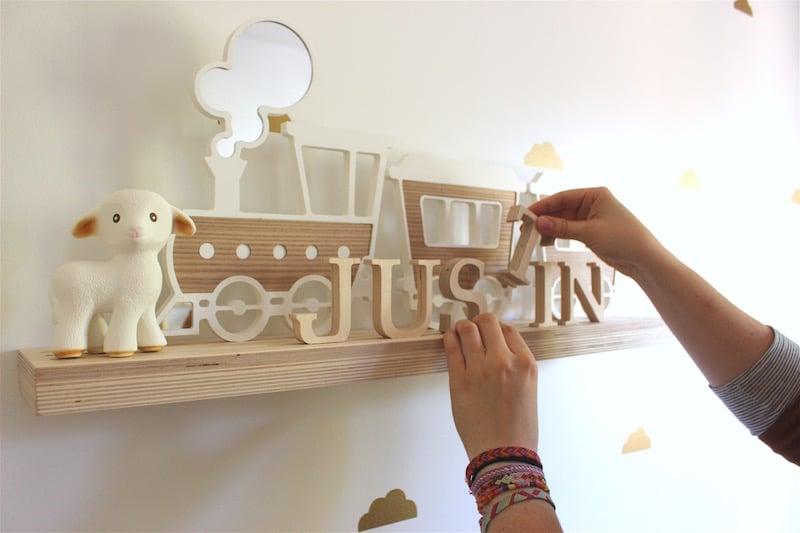 Planche à déco à customiser avec lettres en bois