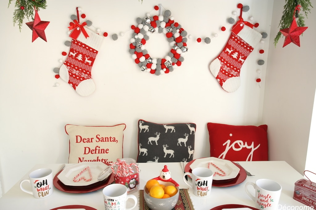 Red, white and grey brunch table decorated with @walmart accessories
