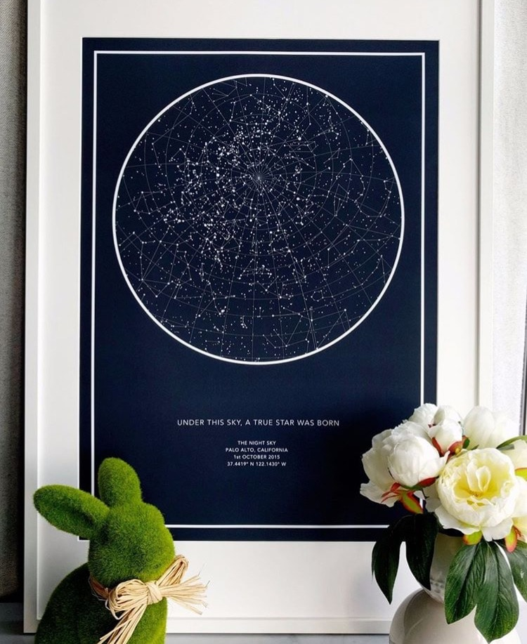 Poster affiche carte du ciel en une date précise