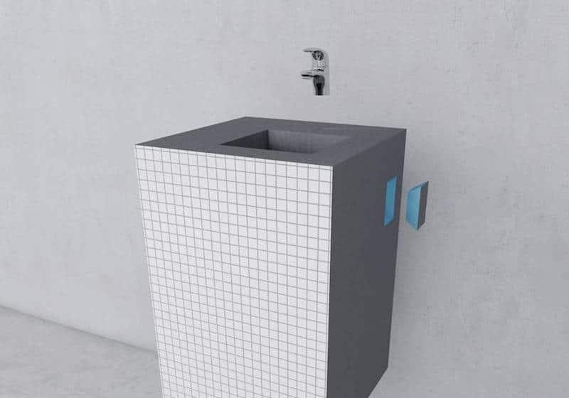 Carreler un meuble lavabo pour une salle de bain unique - Déconome
