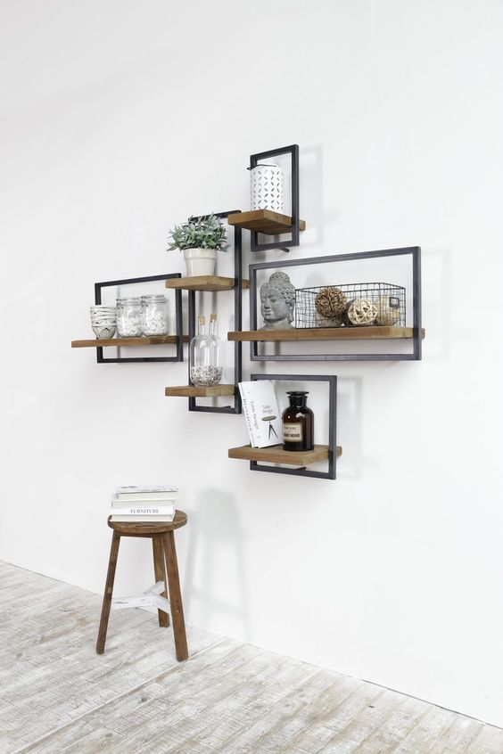 étagère géométrique bois et métal 3D