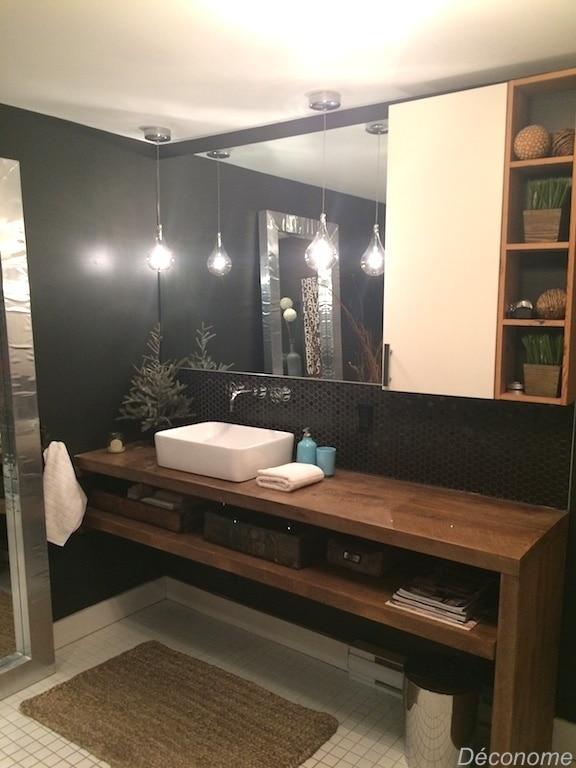 Meuble lavabo DIY planches bois