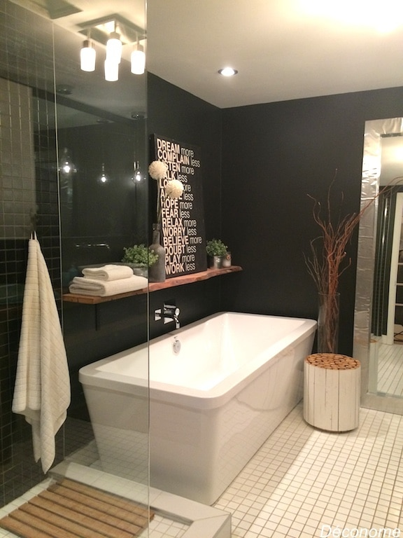 salle de bain avec mur noir
