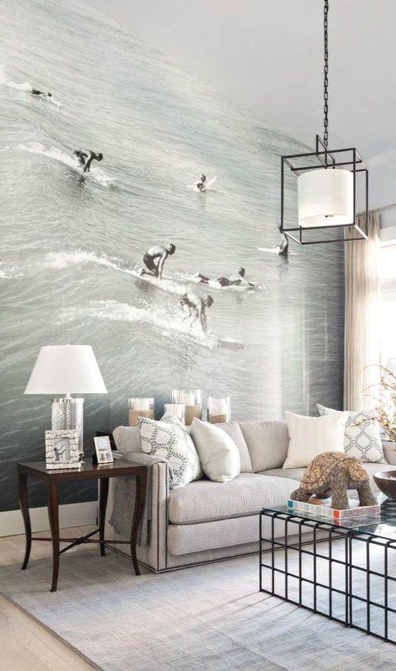 murale imprimée surf salon