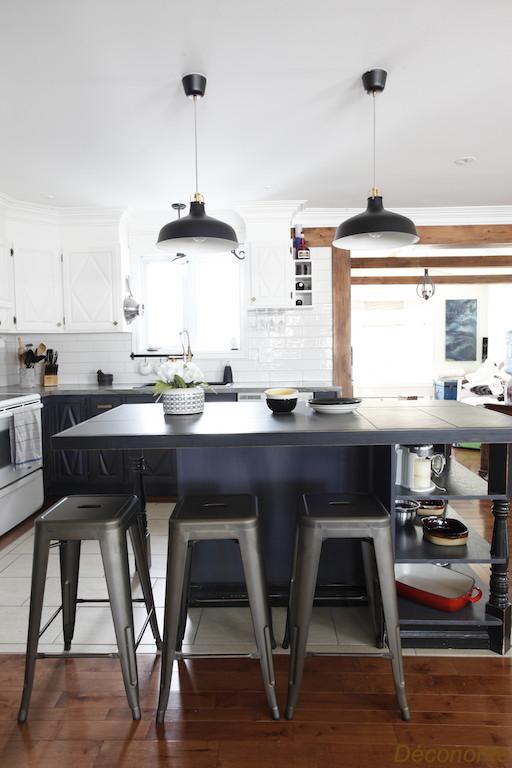 relooking cuisine gris et blanc style farmhouse industriel