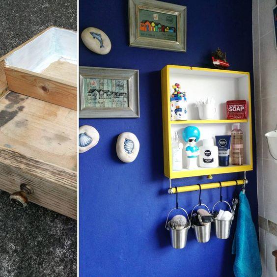 DIY récup tiroir étagère de salle de bain
