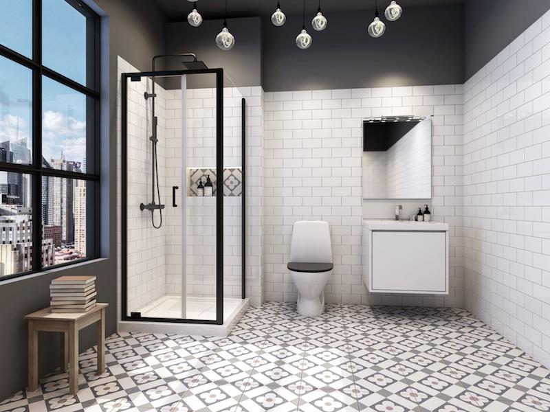 porte de douche cadre noir industrielle