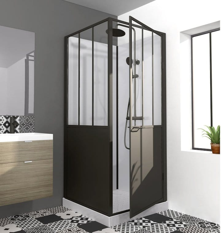o trouver une porte de douche de style industriel. Black Bedroom Furniture Sets. Home Design Ideas