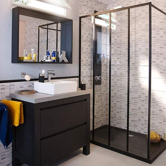 o trouver une porte de douche de style industriel d conome. Black Bedroom Furniture Sets. Home Design Ideas