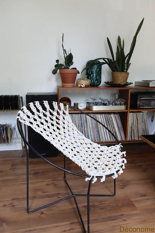 DIY macramé chair / chaise en macramé fabriquée