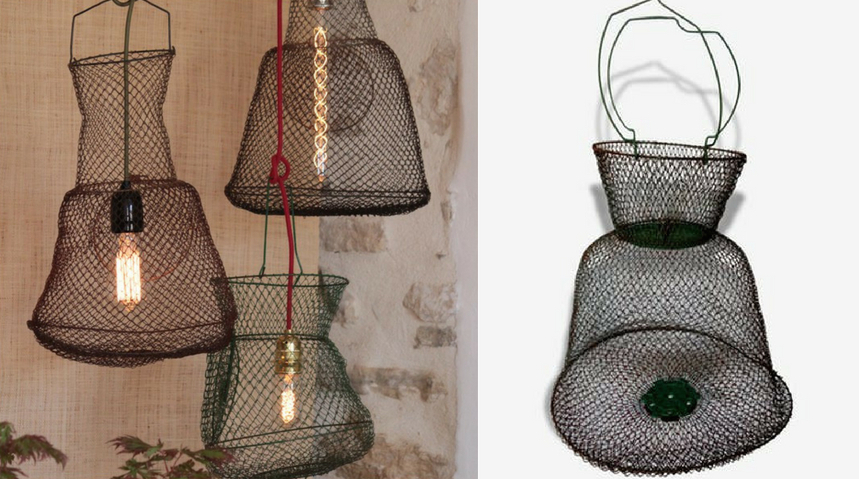 Nasse de pêche transformée en suspension / fish net lamp