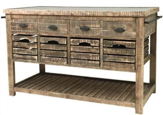 îlot cuisine rustique style bahut avec tiroirs caisse pomme