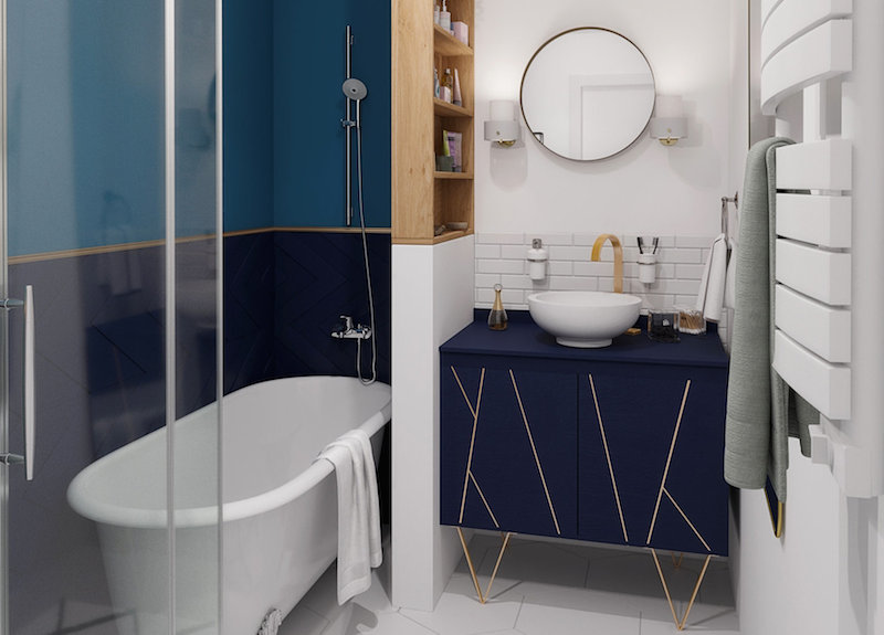 plan 3 D salle de bain bleu marine et or