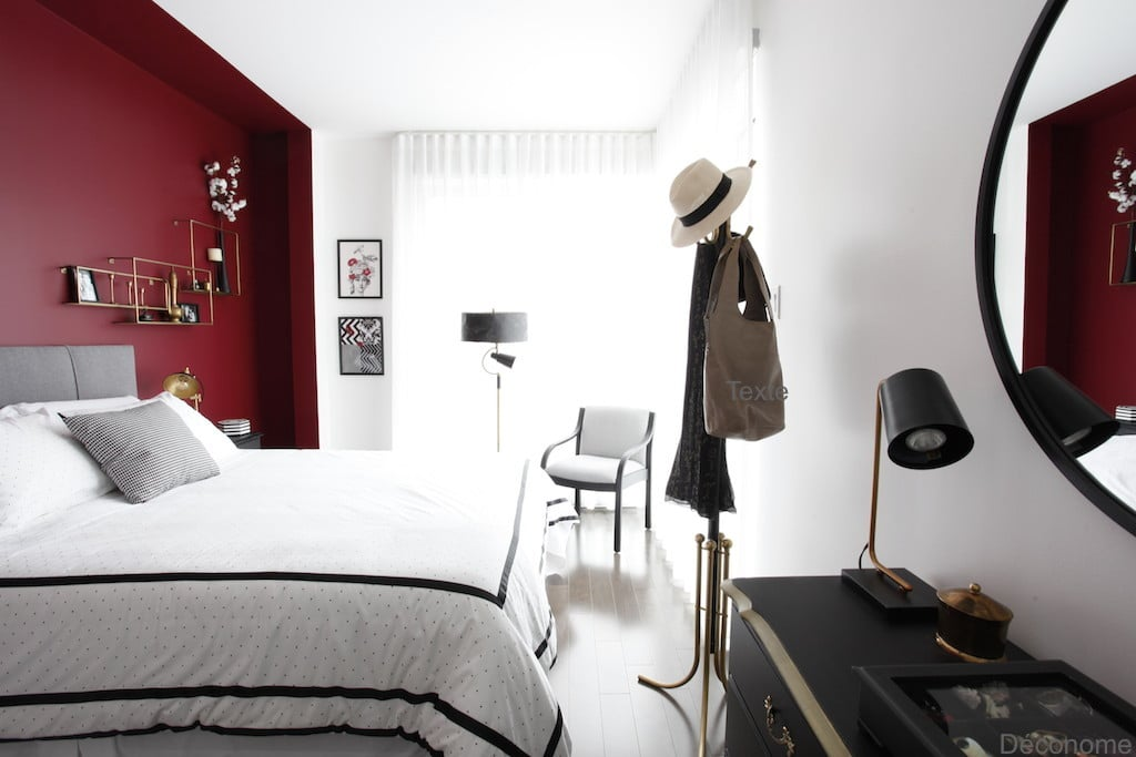 chambre à coucher rouge noir et blanc