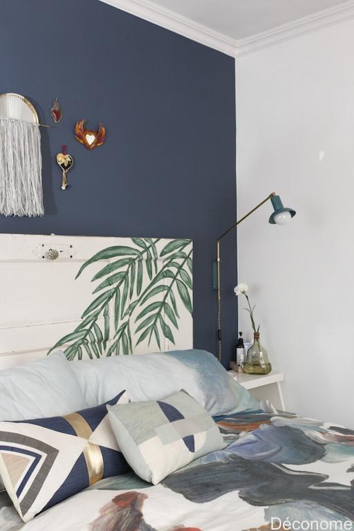 Peindre une vieille porte comme tête de lit / Old door as headboard with painted leaves