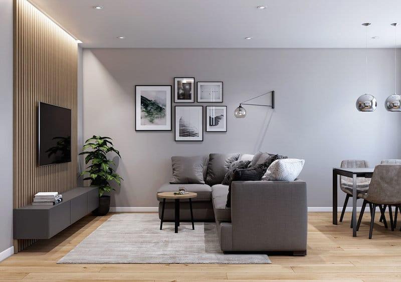 habillage mur derriere tv claustra bois / TV wood wall vertical