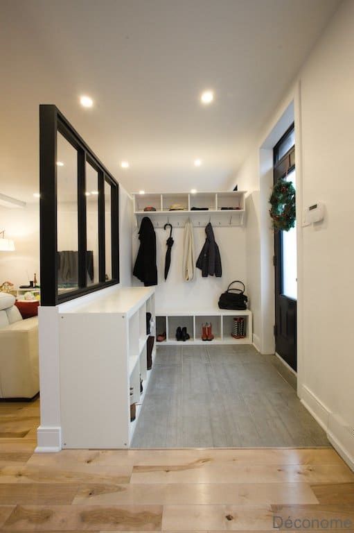 DIY creer une entree avec une verrière et du rangement / DIY entry hall with glass industrial wall and shelves