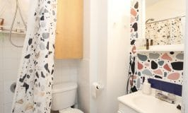peindre un motif terrazzo à la main dans une salle de bain / hand painted terrazzo wall