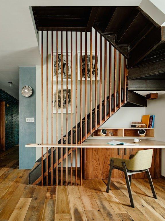 tasseaux bois rampe escalier bureau