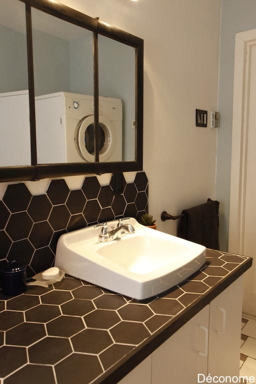 Carreler plan de travail avec céramique hexagonale / how to tile a vanity with hexagonal tiles