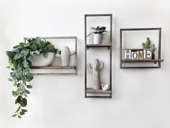 étagère 3D métal et bois
