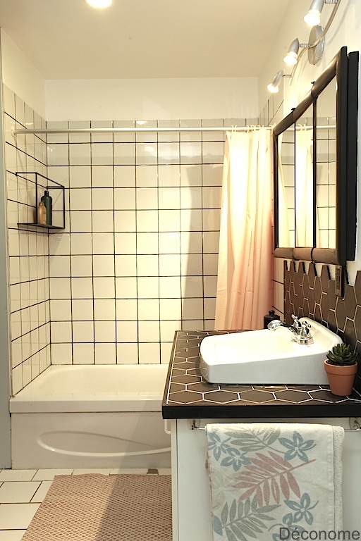 white tiles and black grout DIY stain / mortier carrelage teinté noir