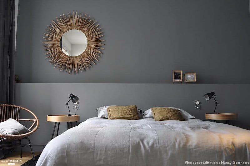 chambre gris anthracite avec demi muret tablette en tête de lit