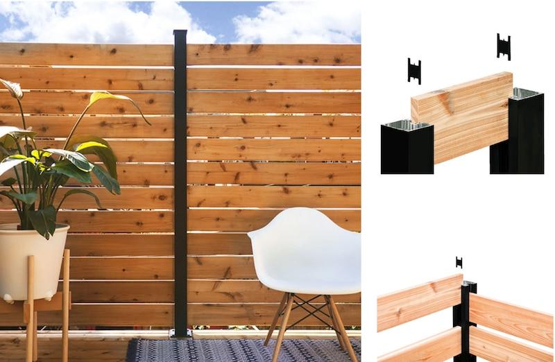 Poteau noir pour insertion planches de clôture horizontale