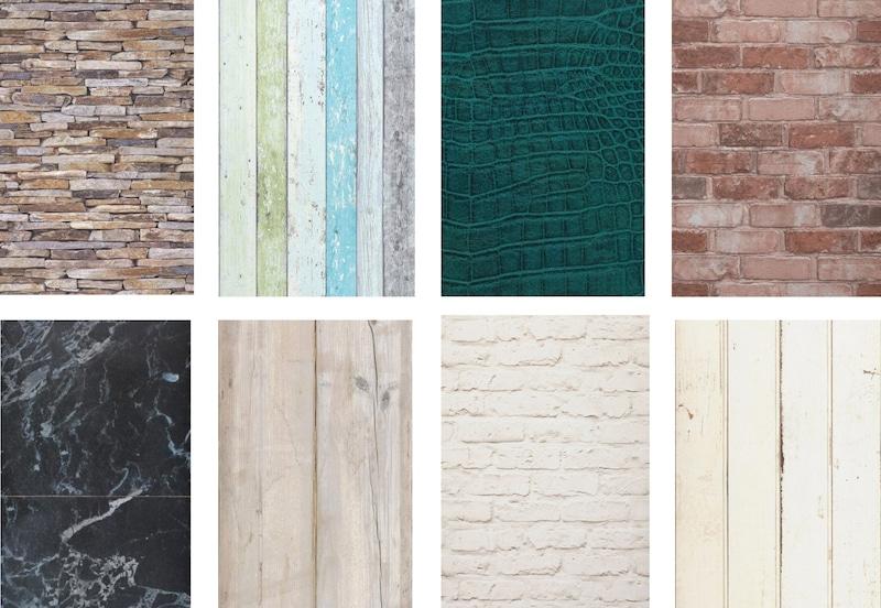 papier peint imitation matières: brique, bois vieilli, cuir, pierre