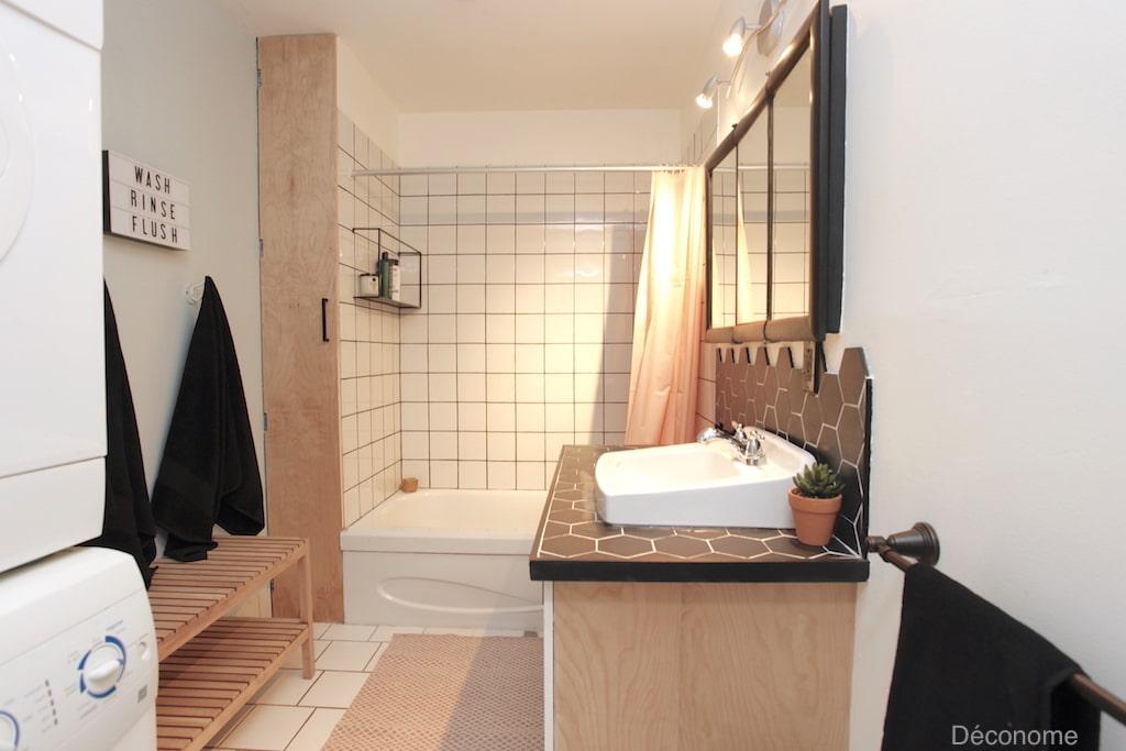 DIY contreplaqué de bois meuble lavabo salle de bain