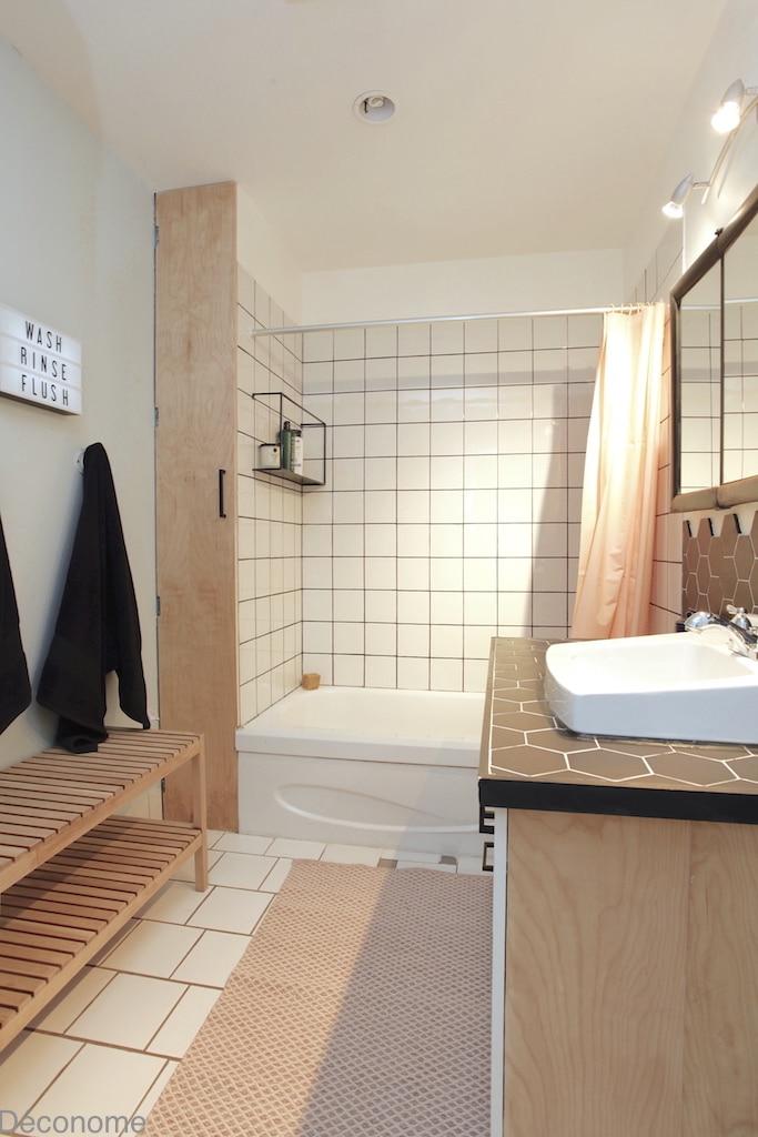 DIY porte salle de bain contreplaqué merisier russe