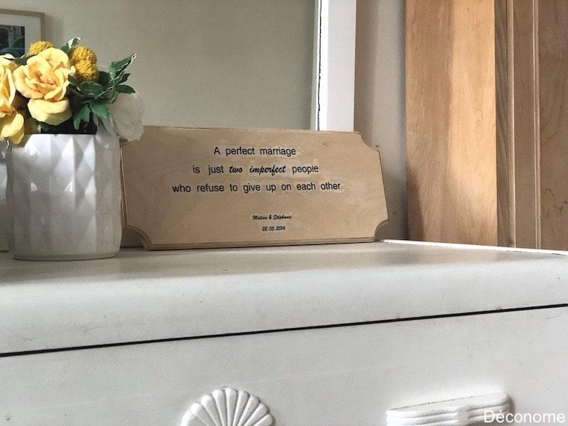 texte transfert écriteau en bois avec gel de transfert