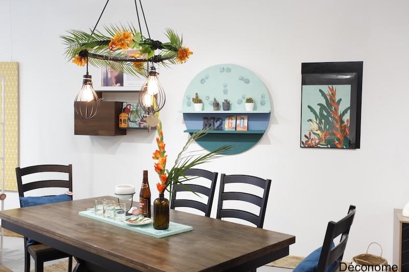 DIY luminaire roue de vélo salle à manger style urbain tropical