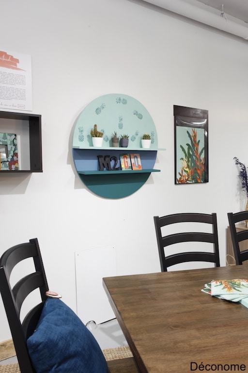 DIY étagère ronde et linge de vaisselle encadré en tableau