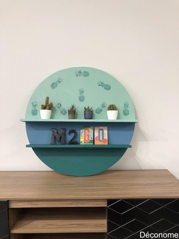 DIY Étagère ronde en bois avec deux tablettes et dégradé de couleurs
