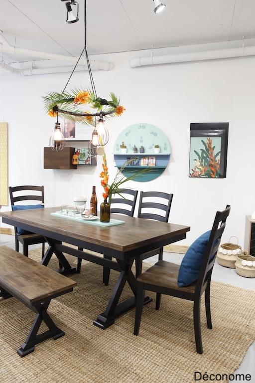 Salle a manger idées déco DIY petit budget / style urbain tropical