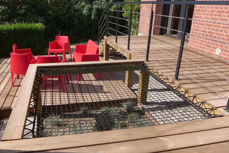 filet hamac intégré terrasse