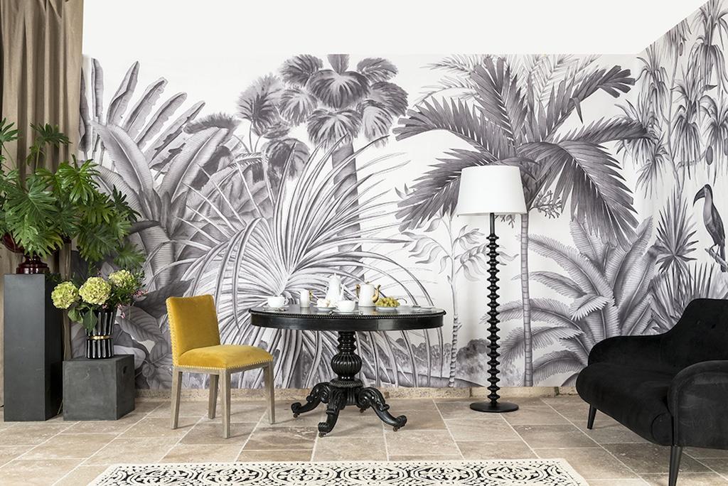 papier peint jungle panoramique noir et blanc Ananbo