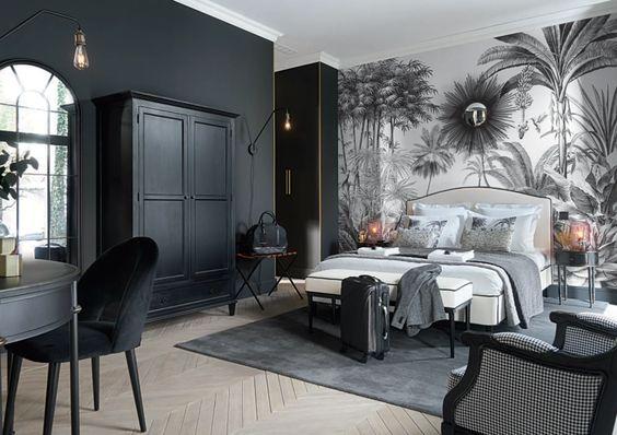 Papier peint jungle noir et blanc pas cher Maisons du Monde