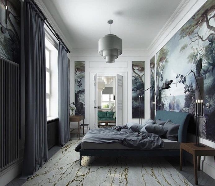 papier peint panoramique antique encadré de moulures dans une chambre