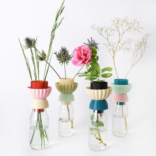 L'impression 3D en décoration, c'est l'avenir ! Fichier gratuit pour imprimer des vases à partir de bouteilles #3dprinting #impression3d