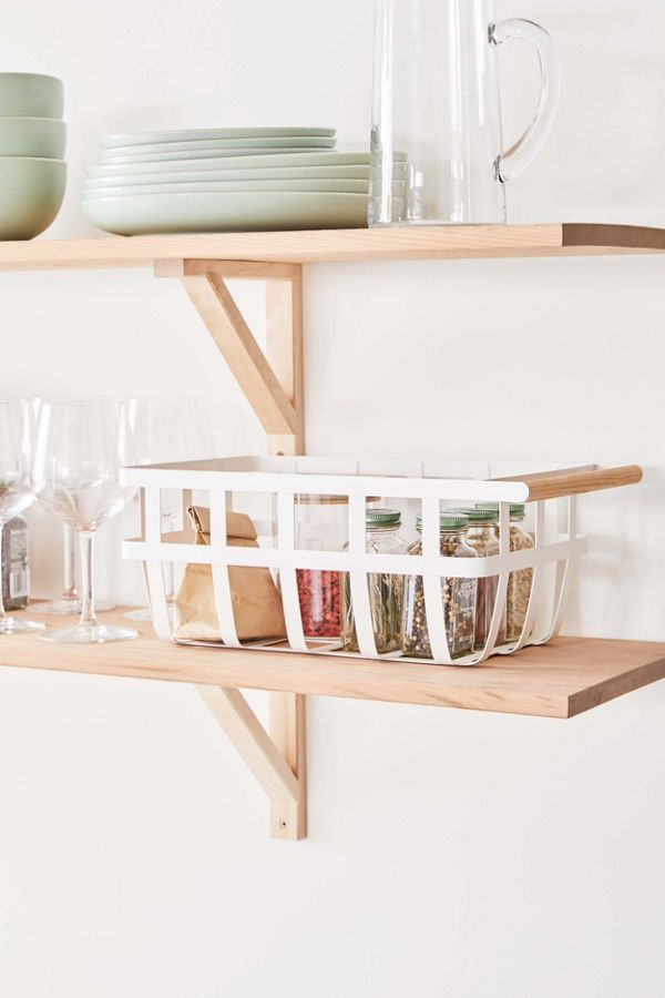 panier de rangement pour étagère blanc et bois Yamakazi