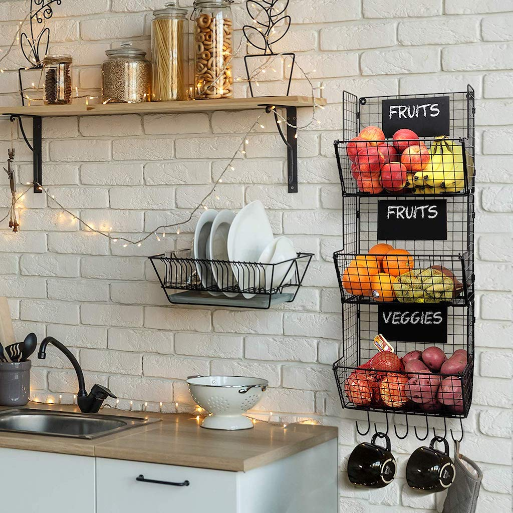 paniers de rangements en grillage suspendus pour fruits et légumes