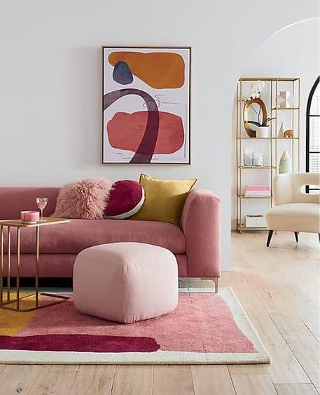 tendances déco: formes de couleurs rose et jaune