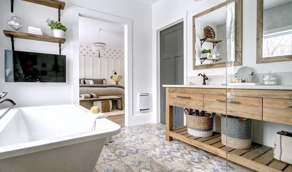 salle de bain rustique chic meuble lavabo en pin antique