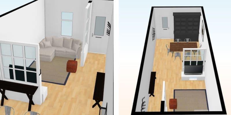 créer un coin salon chaleureux avec 1 demi mur verrière pour séparer l'entrée
