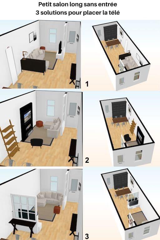 3 façons de placer la télé dans un petit salon / salle à manger tout en longueur